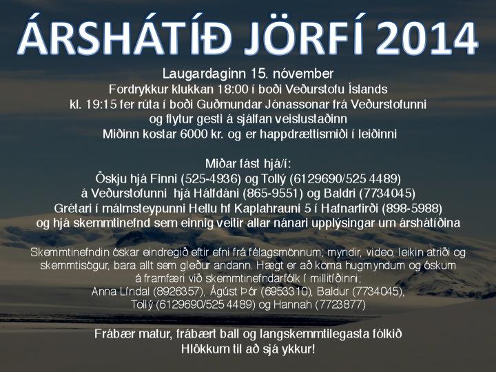 Árshátíð JÖRFÍ 15. nóvember