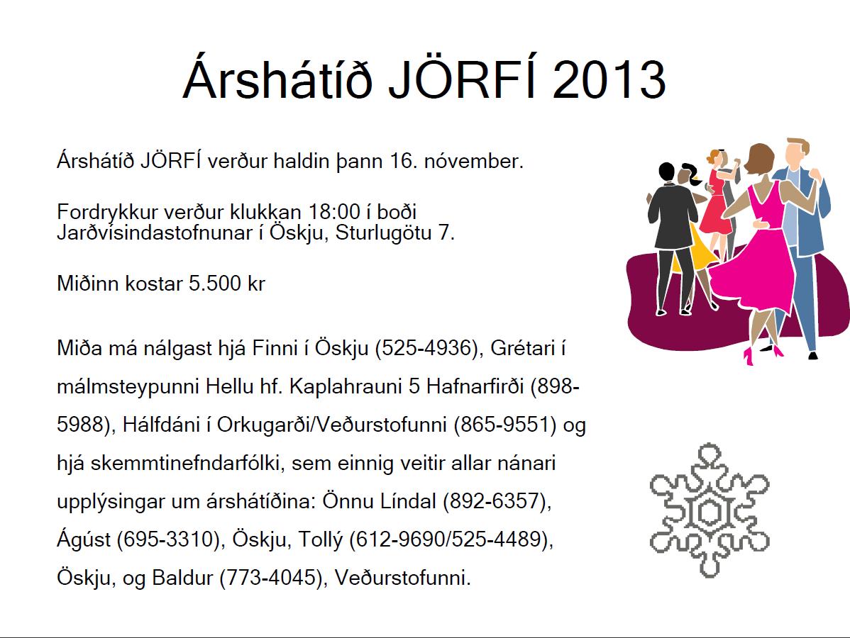 Auglýsing árshátíð JÖRFÍ 2013